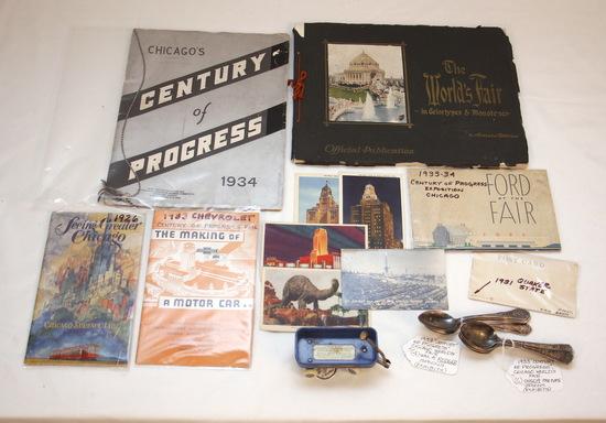 Vintage Century of  Progress World's Fair Lot w/Toy Wagon