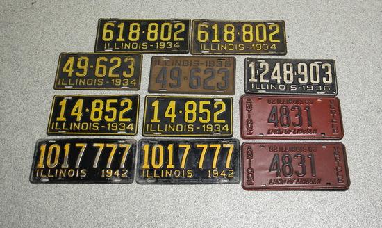 1930s-1940s, two 1980s Vintage Illinois License Plates
