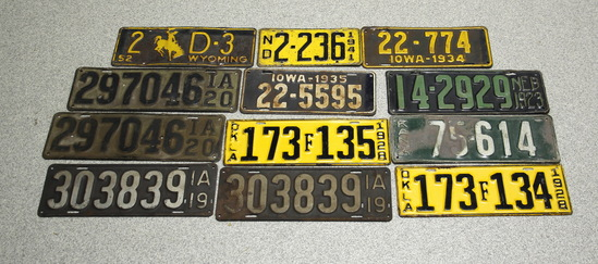 1920s-1950s Vintage License Plates