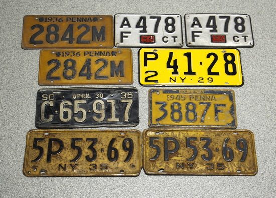 1919-1952 Vintage License Plates
