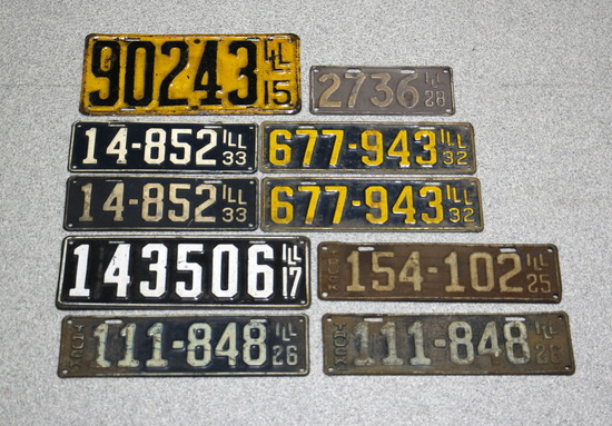 1915-1930s Vintage Illinois License Plates