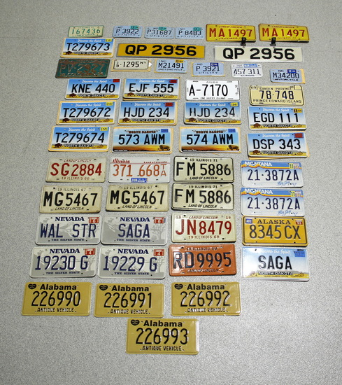 Large Lot of Mixed License Plates