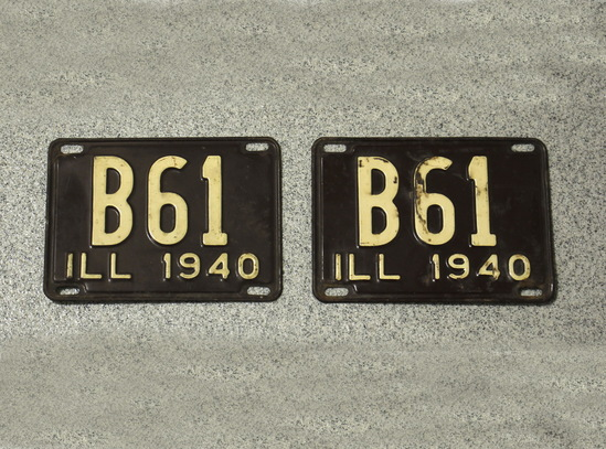 Vintage Illinois 3 Digits License Plates (2)