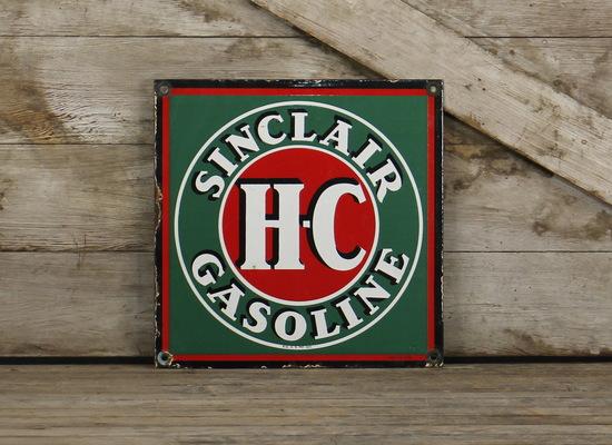Vintage Original H-C Sinclair Truck Door Porcelain Sign