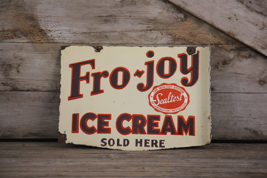 Fro-Joy Ice Cream Sealtest Double-Sided Porcelain Flange Sign