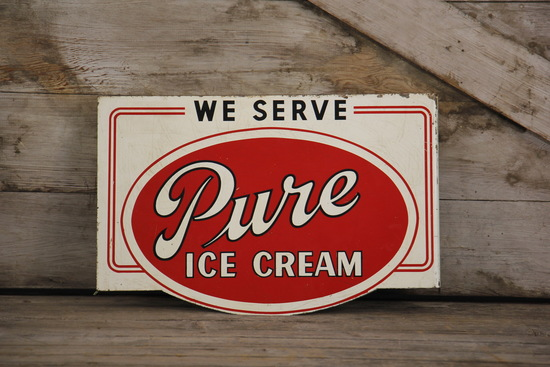 We Serve Pure Ice Cream Double-Sided Flange Sign