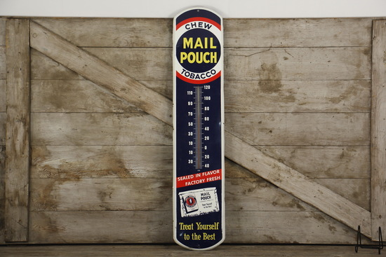 Chew Mail Pouch Tobacco Advertising Thermometer Sign