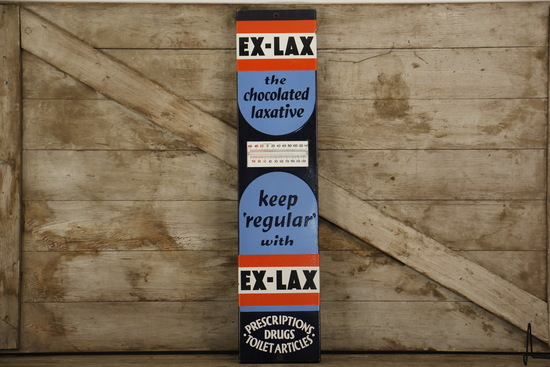 EX-LAX Porcelain Advertising Thermometer Sign