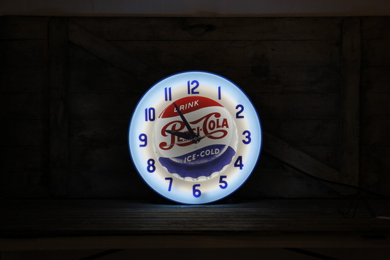Pepsi Cola Neon Clock The Electric Neon Clock Co, Cleveland OH