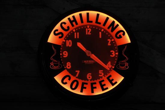Glo Dial Neon Schilling Coffee Advertising Clock