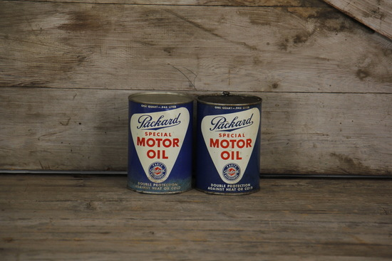 Lot of 2 Packard Automobile Motor Oil Cans