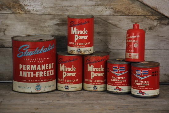 Lot of 7 Studebaker Automobile Cans Oil and Filters