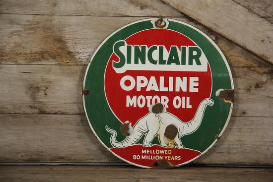 Sinclair Opaline Dino Porcelain Sign