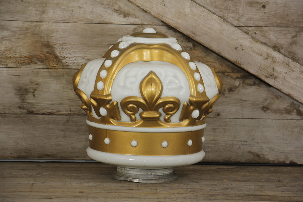 Standard Red Crown Gold Milk Glass Gas Pump Globe
