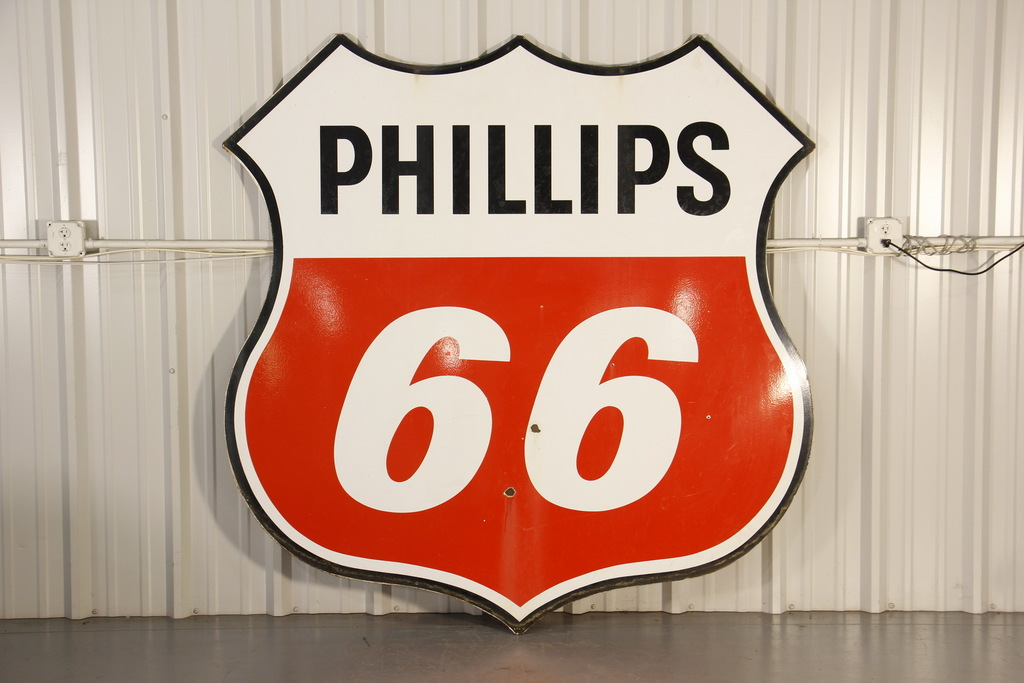 Phillips 66 Gas Station Double-Sided Porcelain Sign