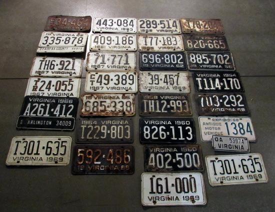 Vintage 1950's Virginia License Plate Lot