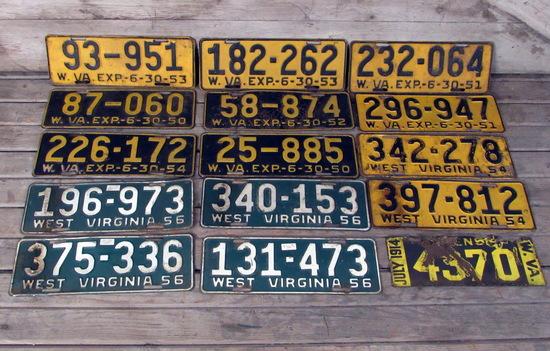 Vintage 1950's West Virginia License Plates