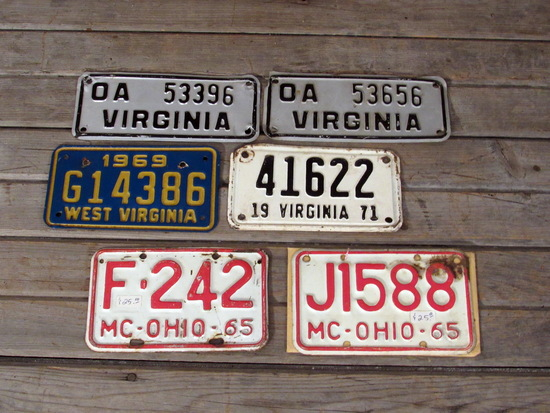 Vintage Motorcycle License Plates