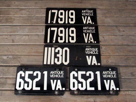 Antique Vehicle Virginia License Plates