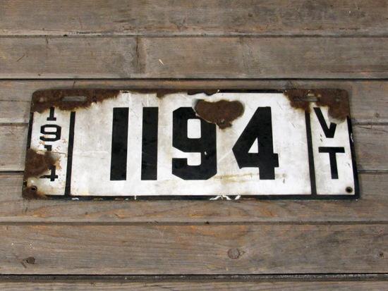 Vintage 1914 Porcelain Virginia License Plate