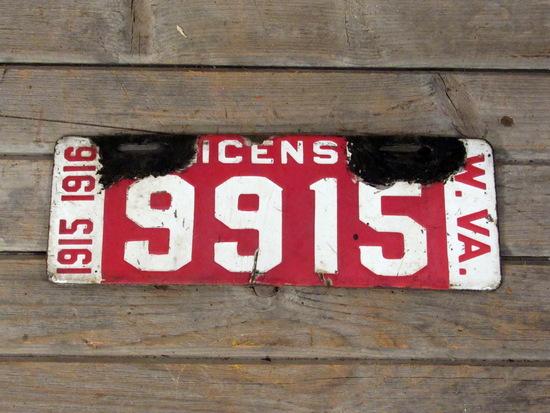 Vintage 1915 1916 West Virginia Porcelain License Plate
