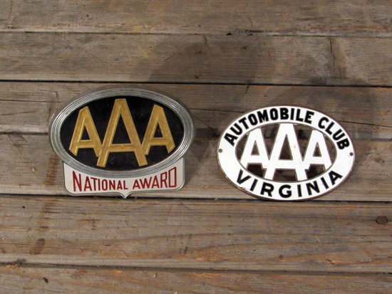 2 Vintage AAA License Plate Toppers