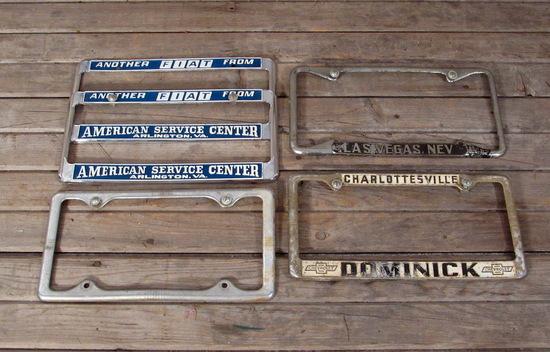 Vintage License Plate Frame Lot