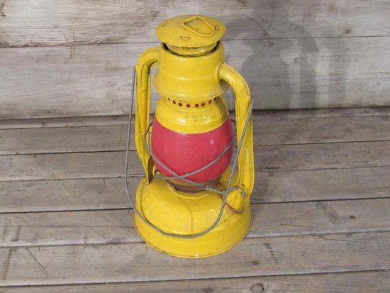Vintage Dietz Yellow Lantern with Red Globe