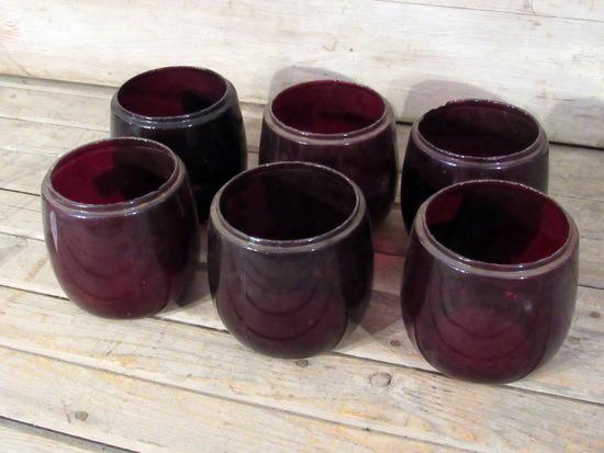 6 Vintage Red Glass Lantern Globes