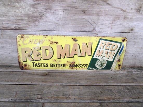 Vintage Red Man Chew Tobacco Metal Sign