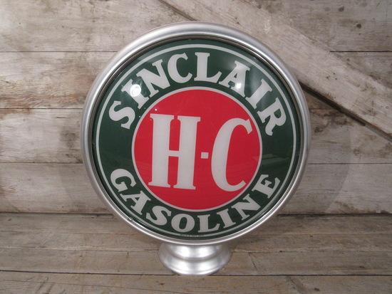 Vintage HC Sinclair Gasoline Glass and Metal Gas Pump Globe
