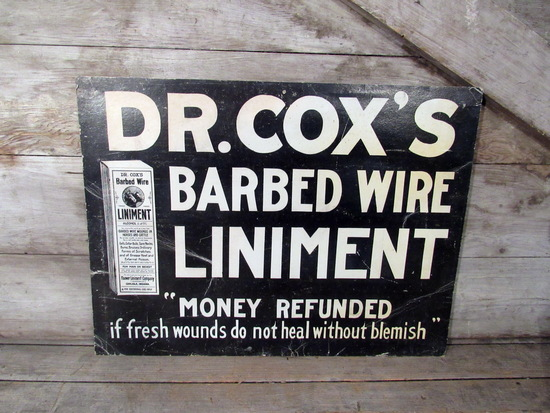 Vintage Dr Cox's Barbed Wire Liniment Cardboard Display Sign