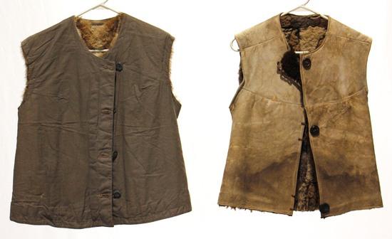 Pair of Original WWII German Army Fur-Lined Winter Vests