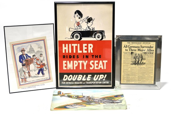 Vintage Lot of 4 WWII U.S. and Adolf Hitler Nazi Germany Propaganda Posters