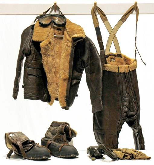 WWII U.S. Army Air Forces Fur-Lined Leather Flight Suit and Accessories