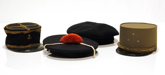 Lot of 4 Pre-WWII French Military Headwear Hat Beret Caps
