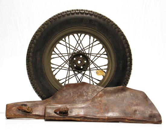 WWII U.S. Military Harley-Davidson Motorcycle Wheel and 2 Leather Rifle Scabbards