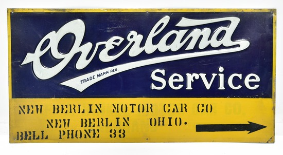 Early Overland Automobile Service New Berlin Ohio Embossed Tin Sign