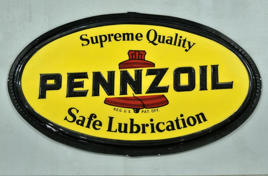 PENNZOIL Safe Lubrication Lighted Oval Embossed Plastic Sign