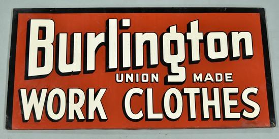 Burlington Union Made Work Clothes Larger Tin Sign
