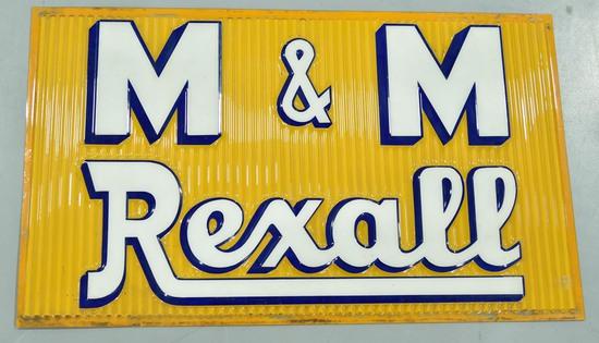 M&M Rexall Drug Store Embossed Plastic Sign