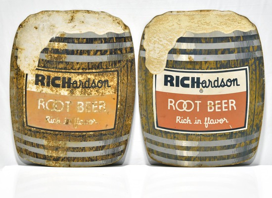 Lot of 2 Richardson Die Cut Single-Sided Tin Root Beer Barrel Signs