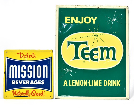 Lot 2 Soda Signs: Drink Mission Embossed Tin Sign & Enjoy TEEM Embossed Tin Sign