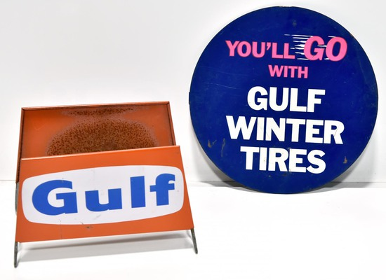 Lot of 2 Double-Sided Complete GULF Tire Display Sign & GULF Tin Tire Insert Sign