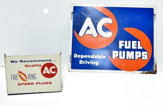 Lot of 2 AC Fuel Pumps SST Sign & We Recommend Quality AC Fire Ring Spark Plugs Catalog Display