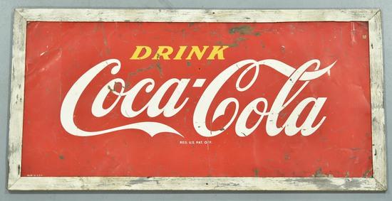 Drink Coca-Cola Tin Sign in Original Wood Frame