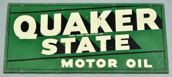 1962 Quaker State Motor Oil Embossed Tin Sign