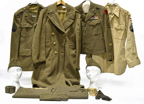 Collection Lot of WWII U.S. Army Service Uniforms and Accessories
