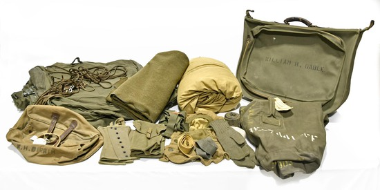 Lot of WWII U.S. Army Clothing Bags, Sleeping Materials, Boot Leggings, Field Kit Pouches