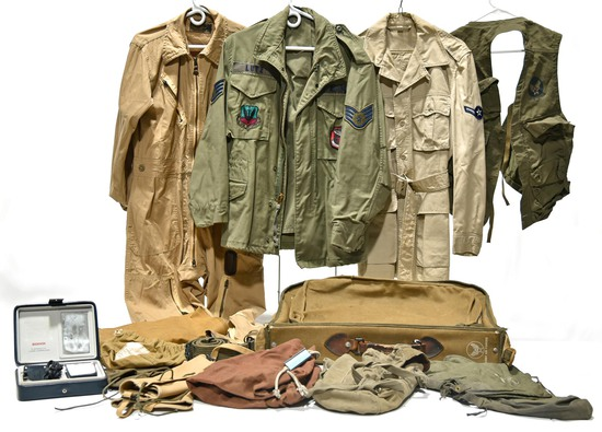 WWII and Cold War U.S. Air Force Collection of WWII Clothing Bag, Field jackets, Flight Suit, Shaver
